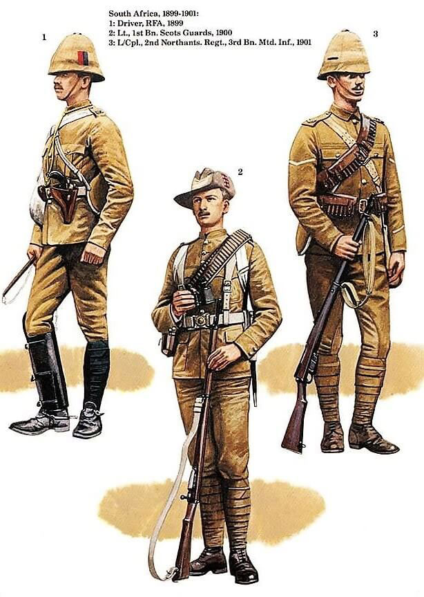 British soldiers in nineteenth century camouflage khaki uniforms