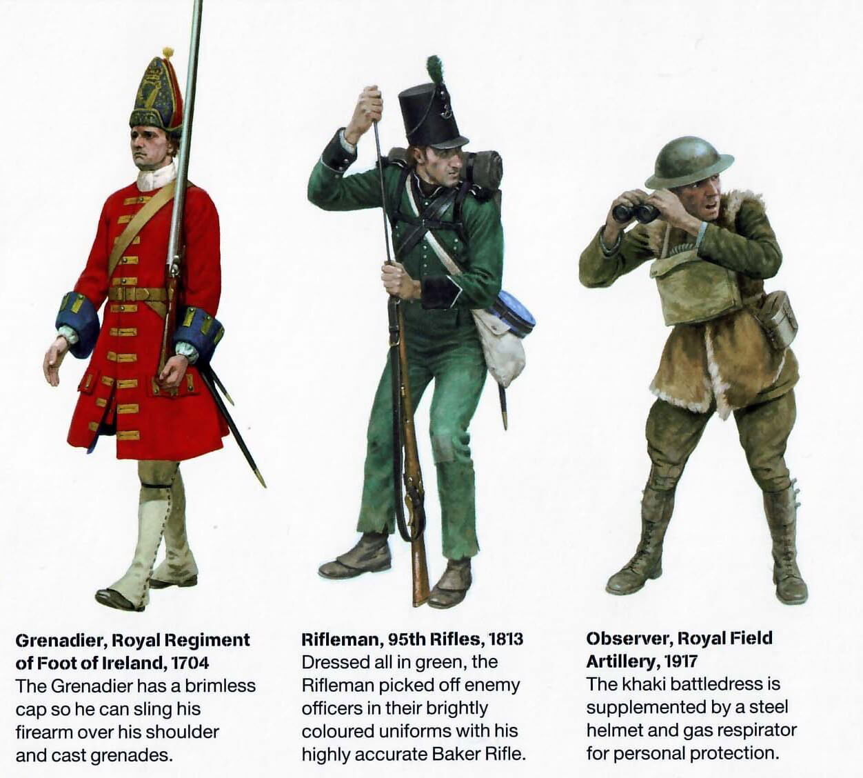 British soldiers during the centuries: uniforms pre-modern camo