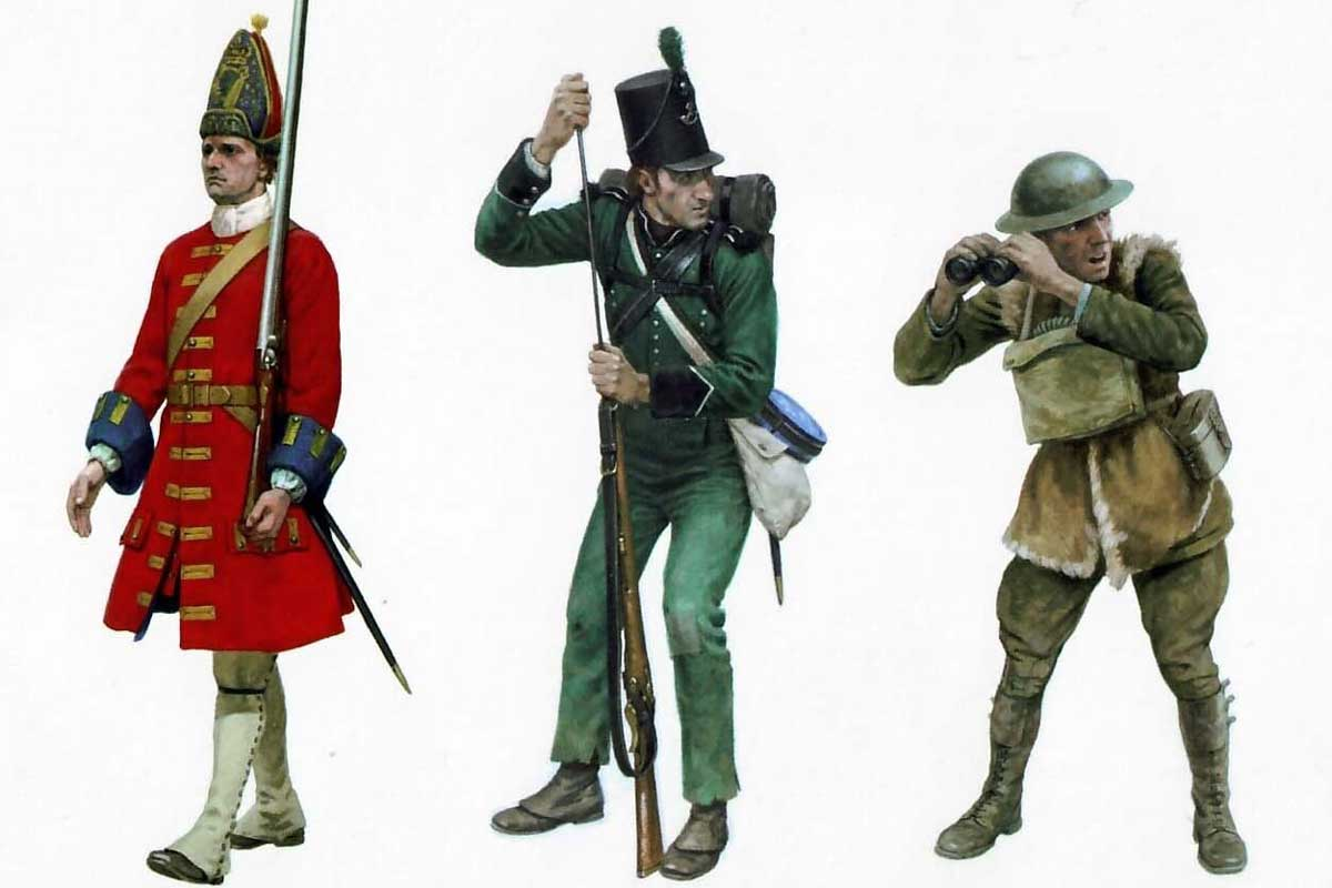 Soldiers in different camouflage uniforms