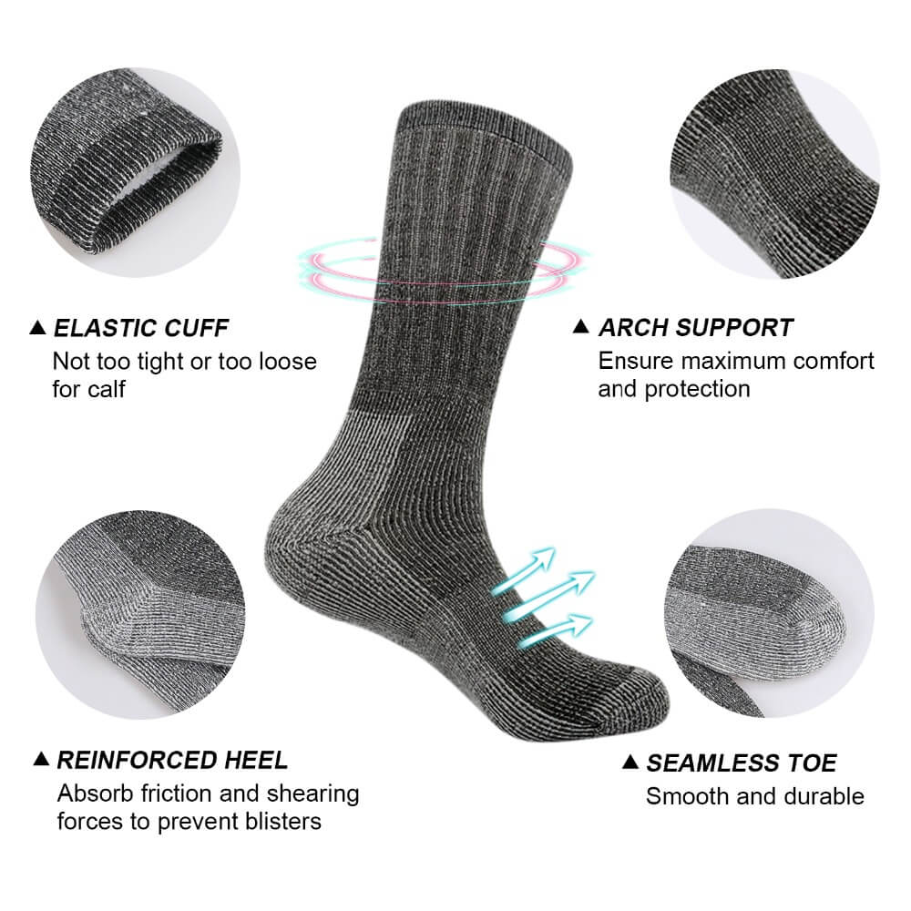 Hiking sock features diagram