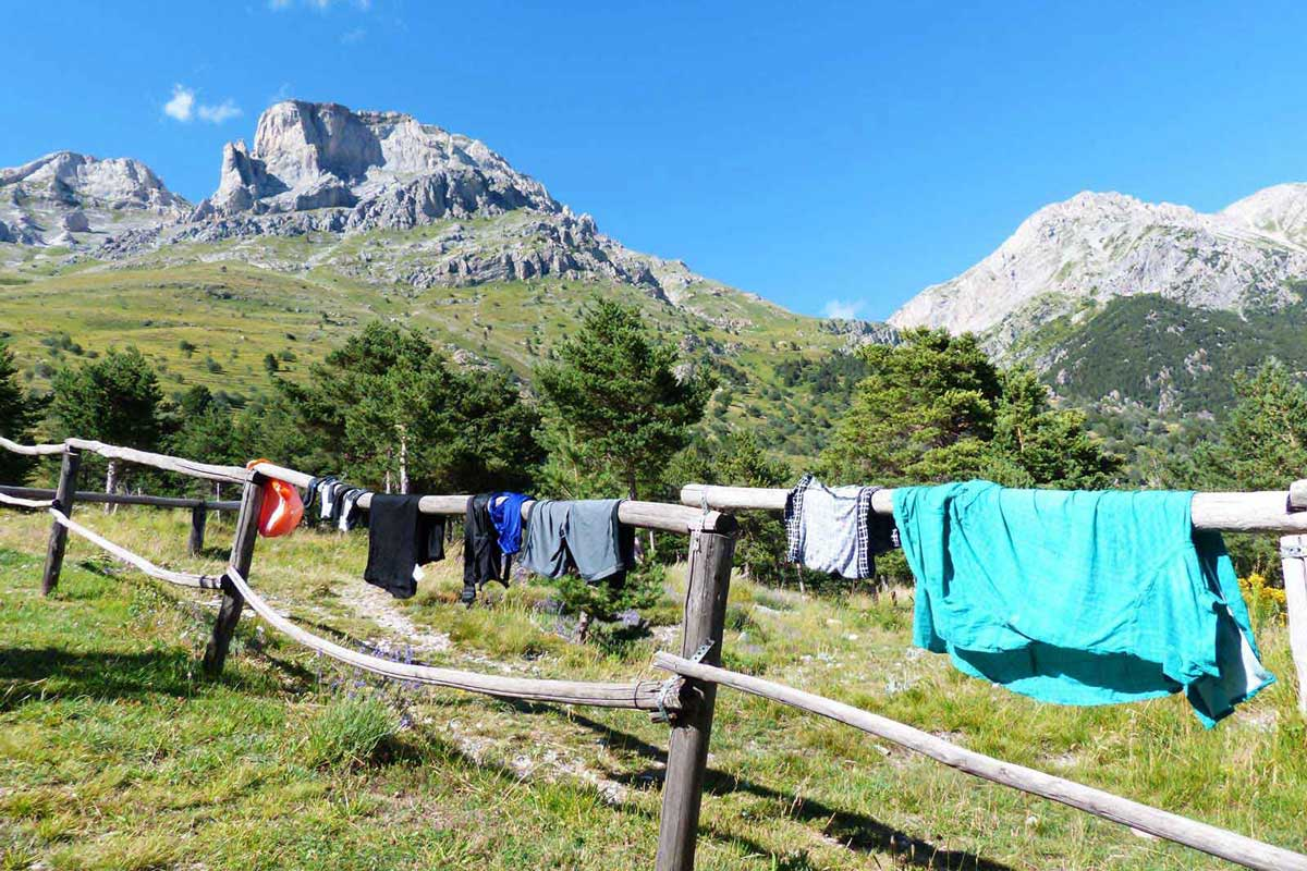 Hiking clothes drying under the sun