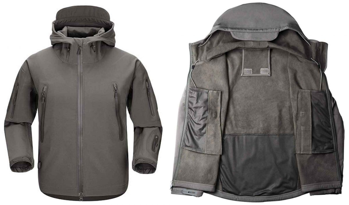 Typical waterproof softshell jacket in grey color