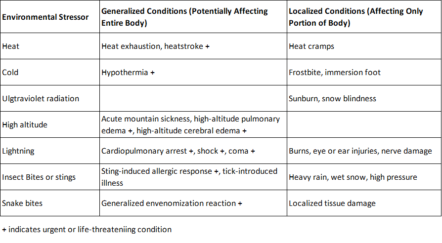 Environmentally related conditions and injuries associated with hiking at altitude