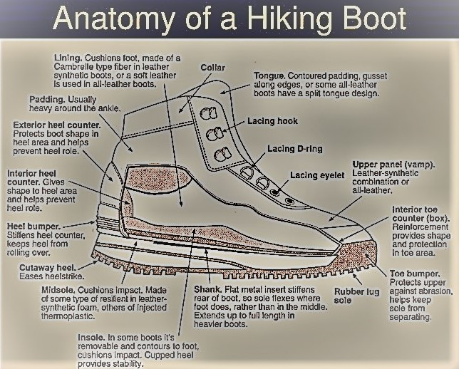 Anatomy of a hiking boot diagram