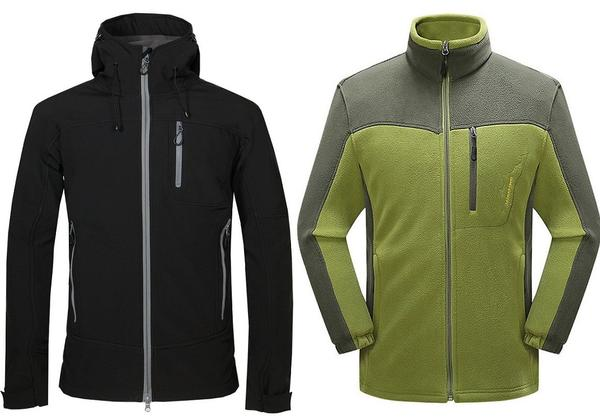 Black softshell and green fleece