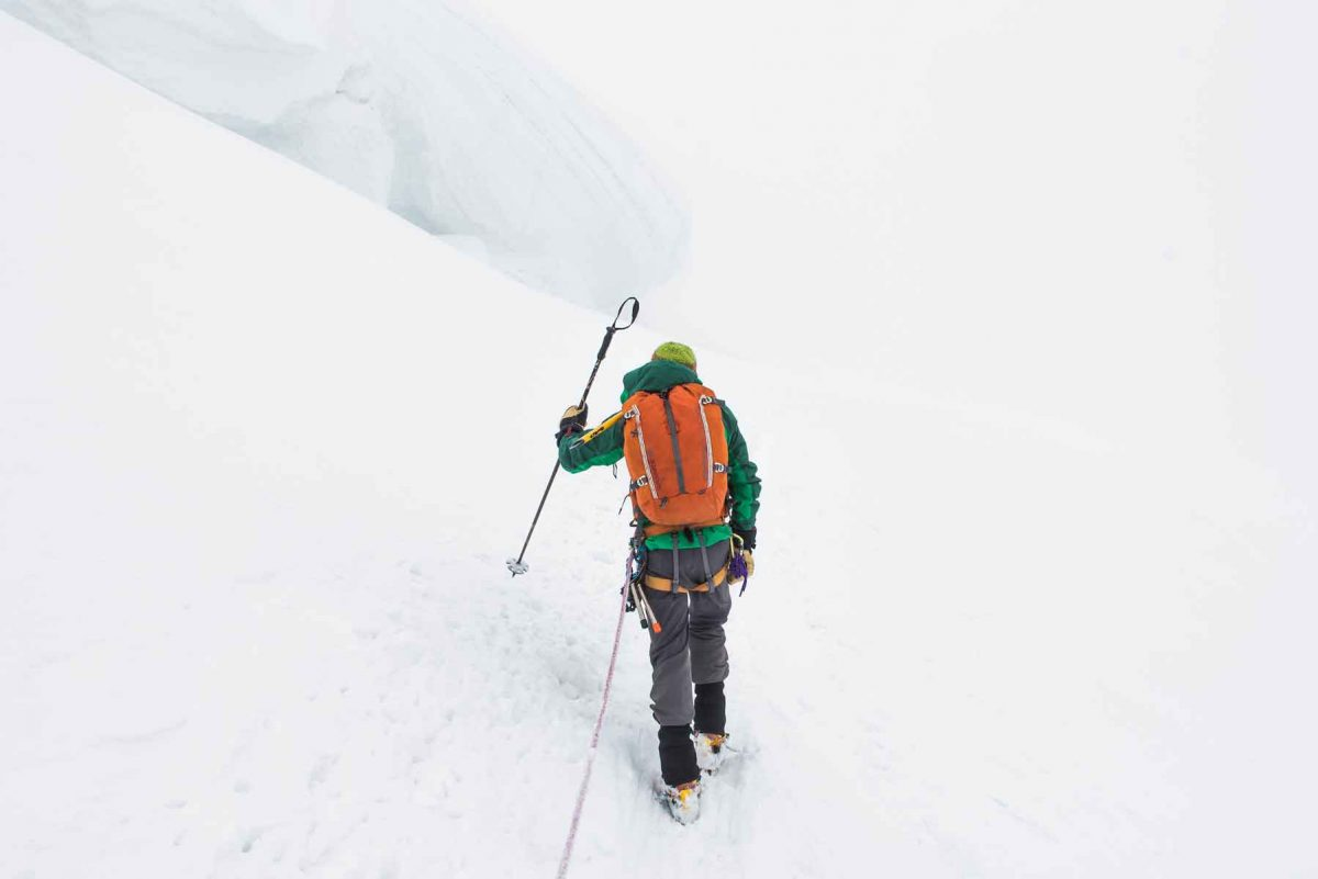 Trekking poles can be used for probing snow for cracks and crevasses