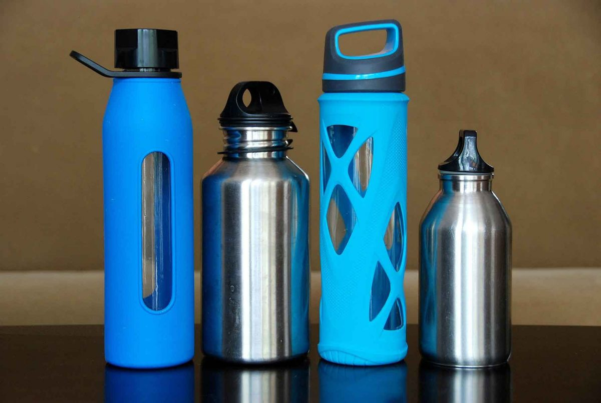 Four stainless steel water bottles