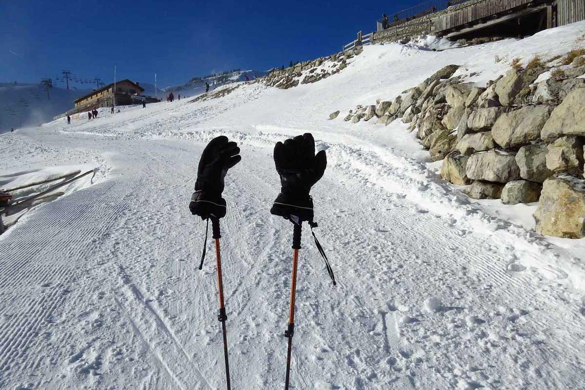 Winter gloves snowy terrain