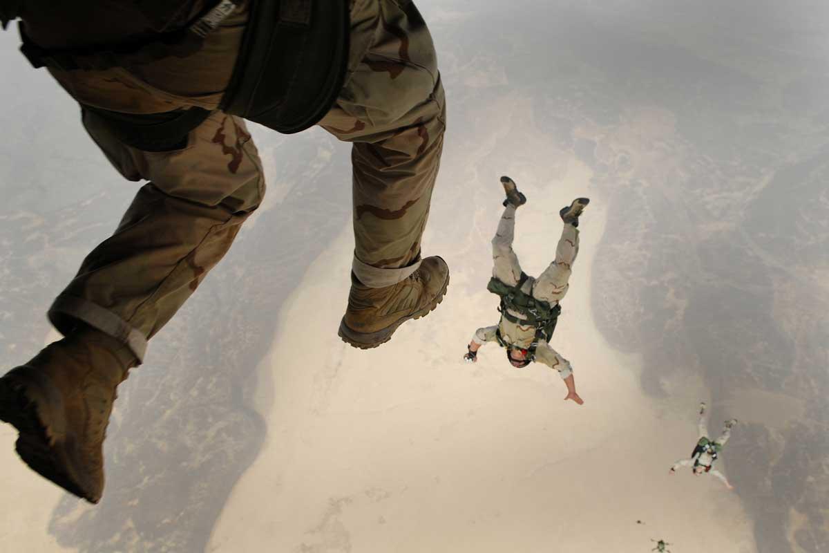 Military boots parachute jump