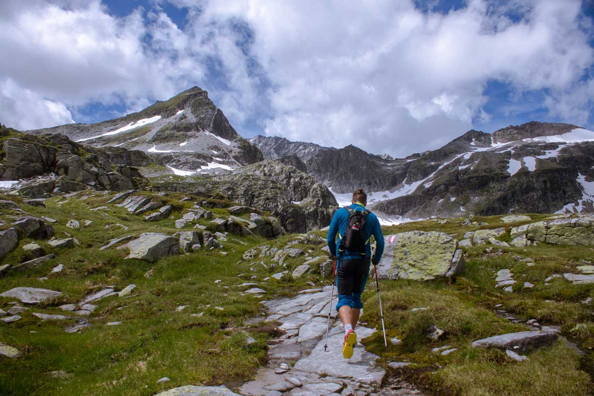 Hiker traversing difficult terrain