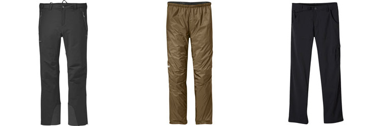 Three types of hiking pants