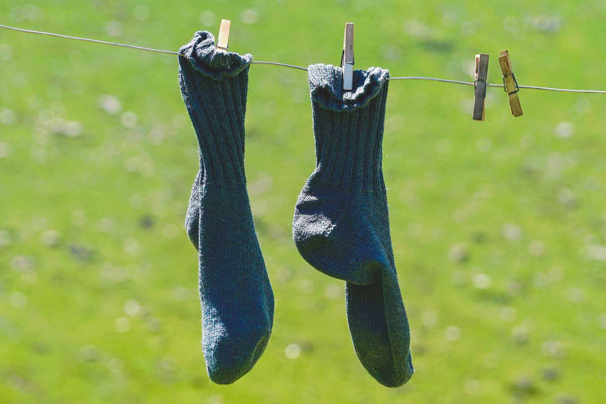 Pair of green-blue socks hanging