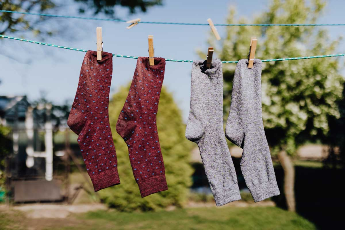 Summer hiking socks drying