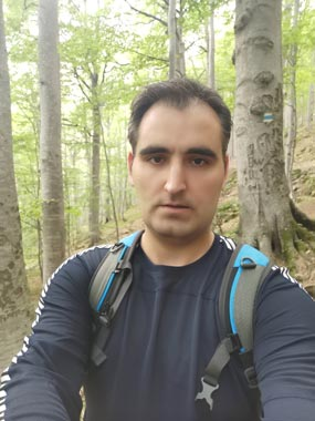 Forest hiking with base layer