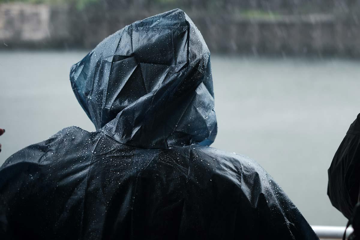 Rain poncho hiker