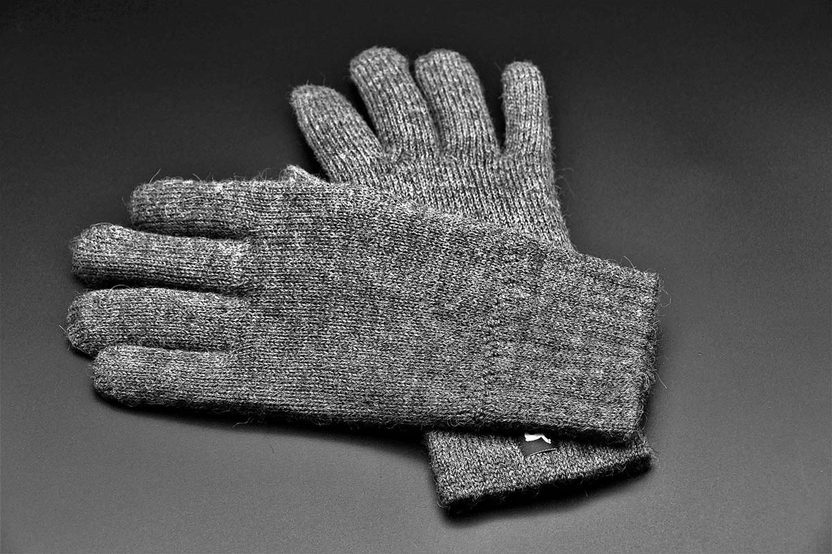 Grey wool glove liners